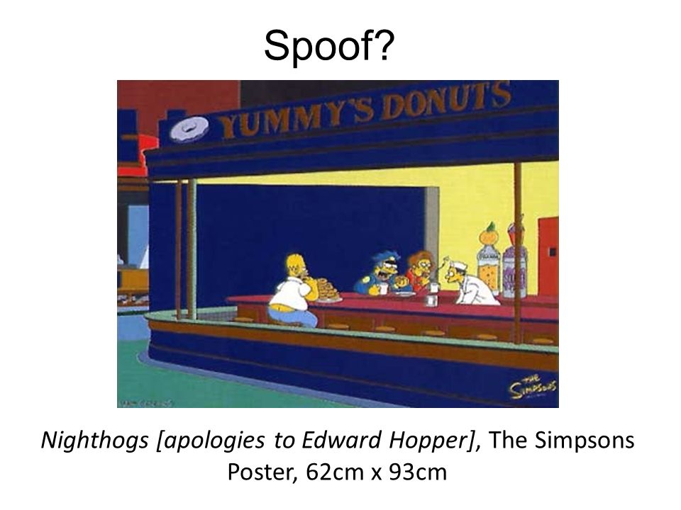 Spoof Nighthogs [apologies to Edward Hopper], The Simpsons Poster, 62cm x 93cm